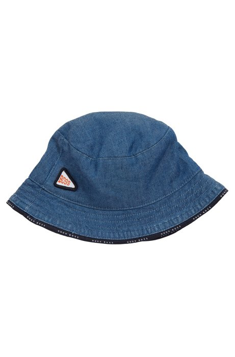 Baby reversible bucket hat in denim with logo trims, Patterned