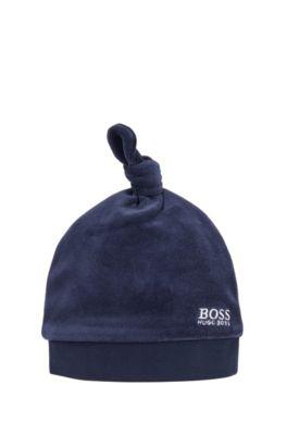 Coton Bonnet B/éb/é Naissance en Velours avec un Noeud BOSS Unisex Bleu Cargo