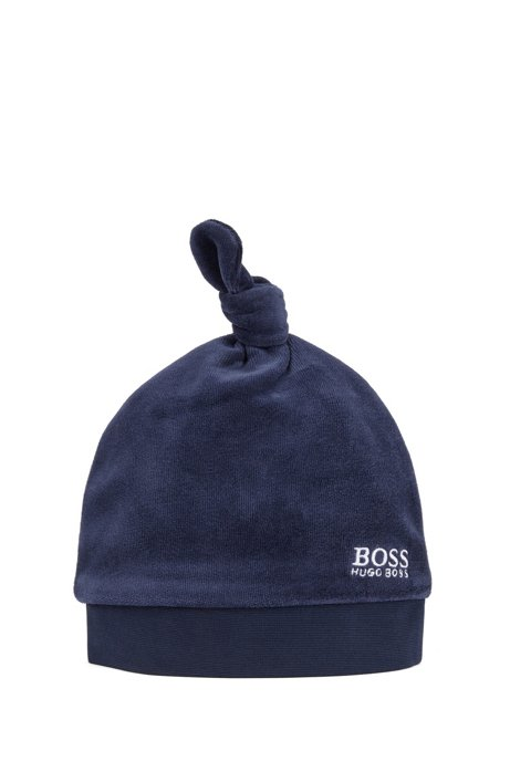 Baby logo hat in velvet with knotted top, Dark Blue