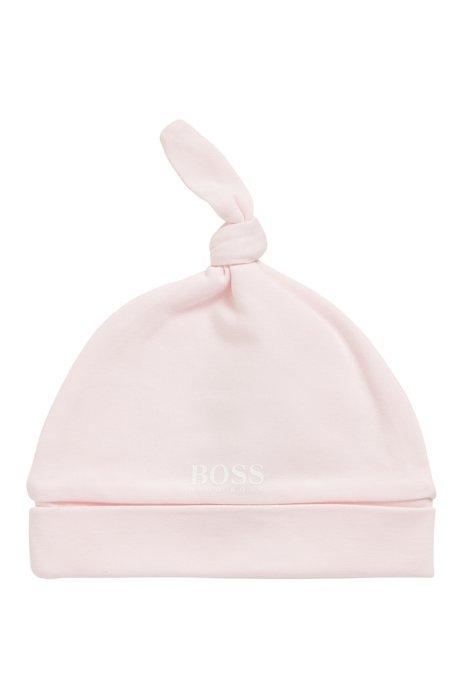 Gorro de bebé en algodón puro con logo estampado, Rosa claro