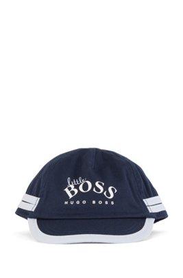 Baby cap in cotton twill with logo print, Dark Blue