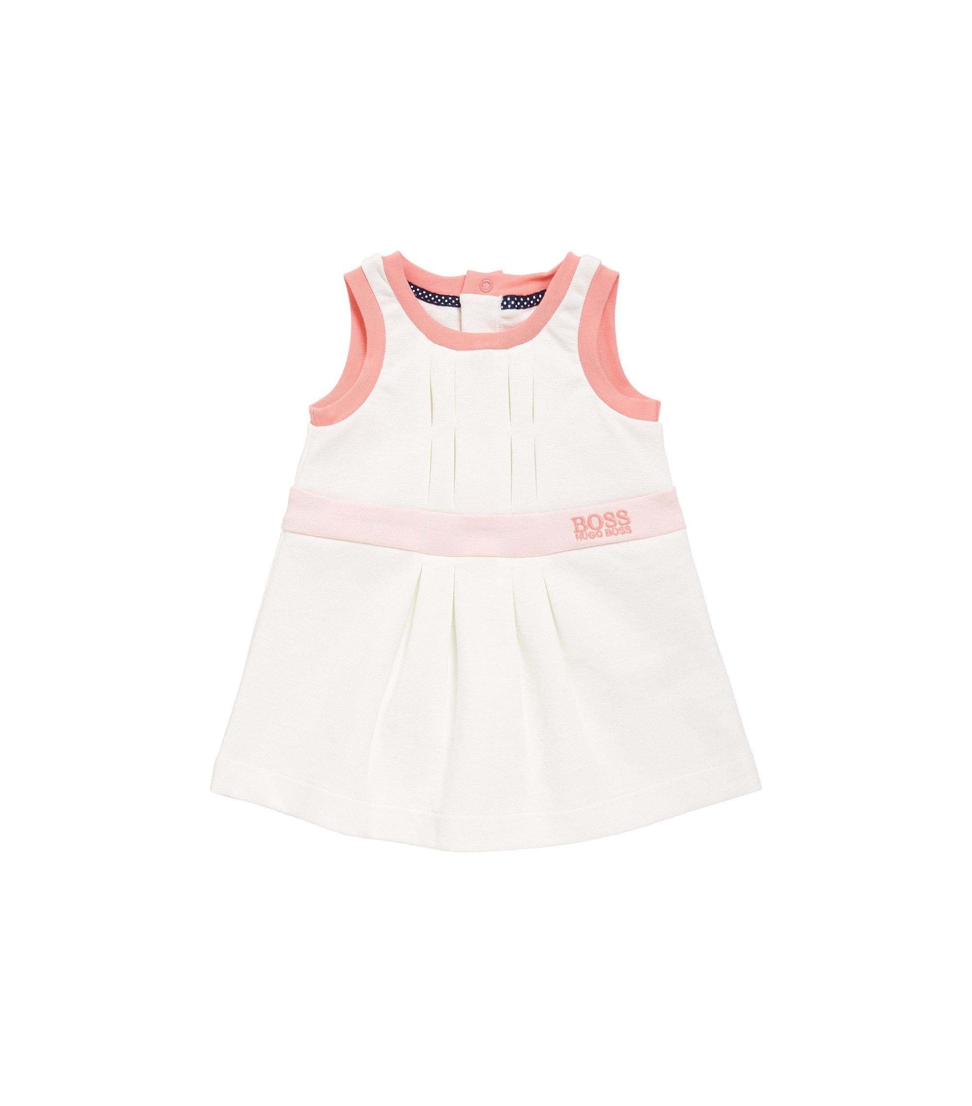 Newborn cotton dress with pleat details: 'J92029', Natural