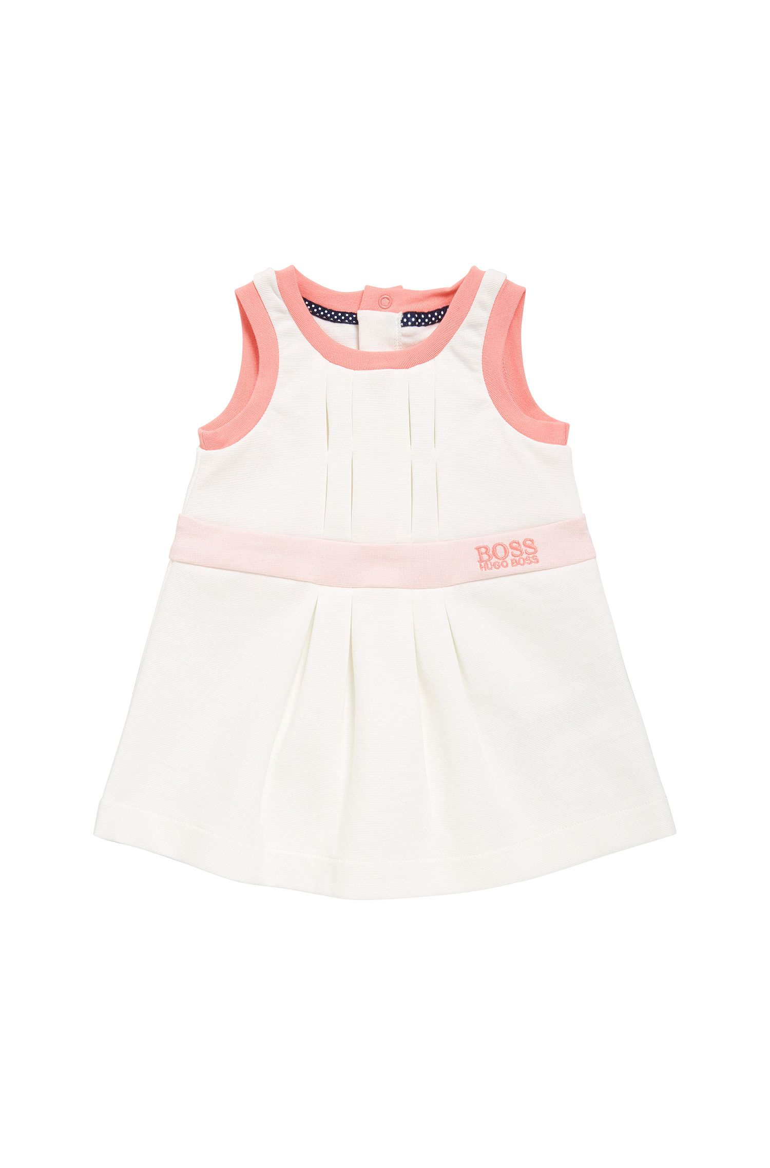 Newborn cotton dress with pleat details: 'J92029'