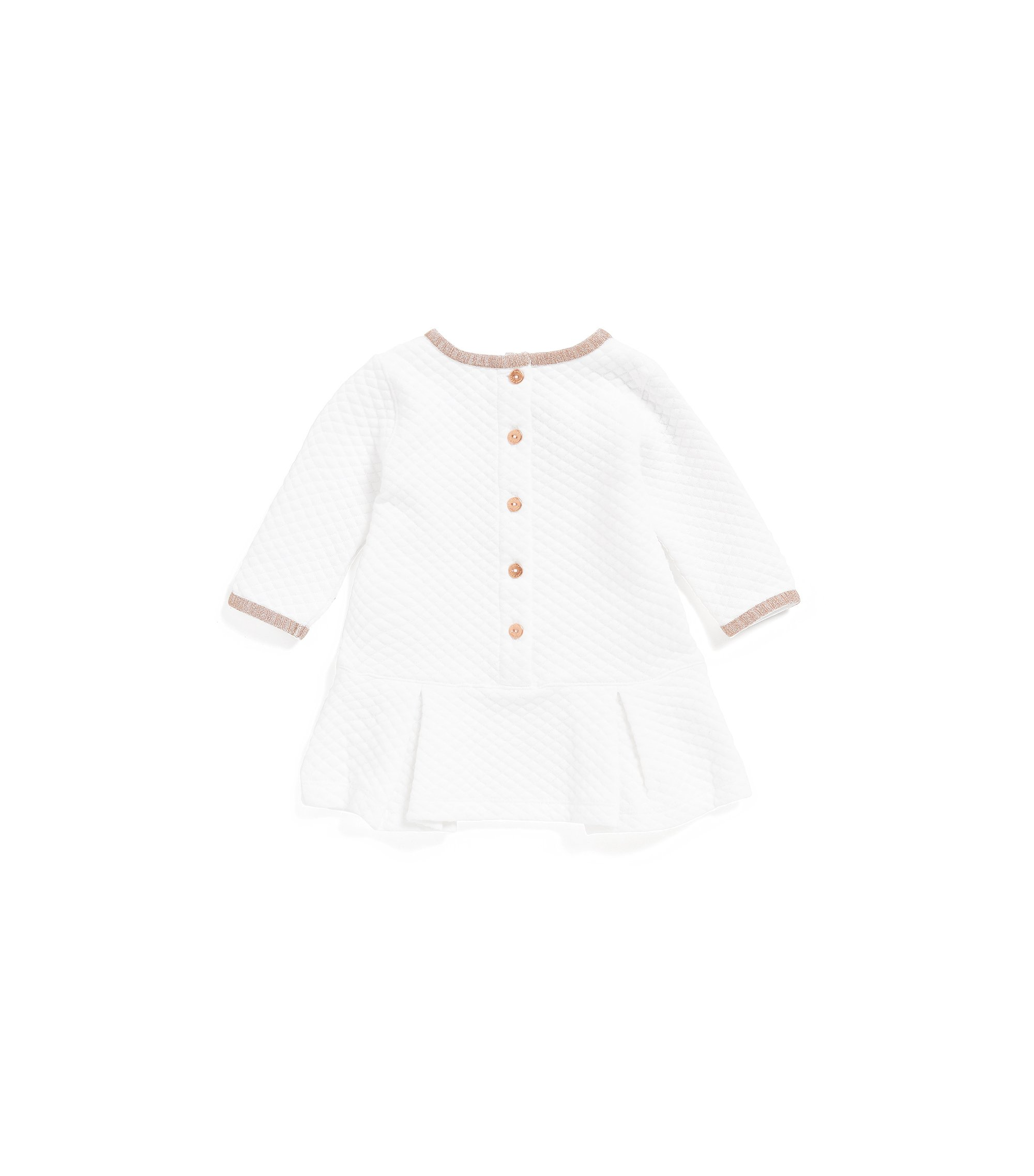Baby dress in quilted cotton-blend jersey, White