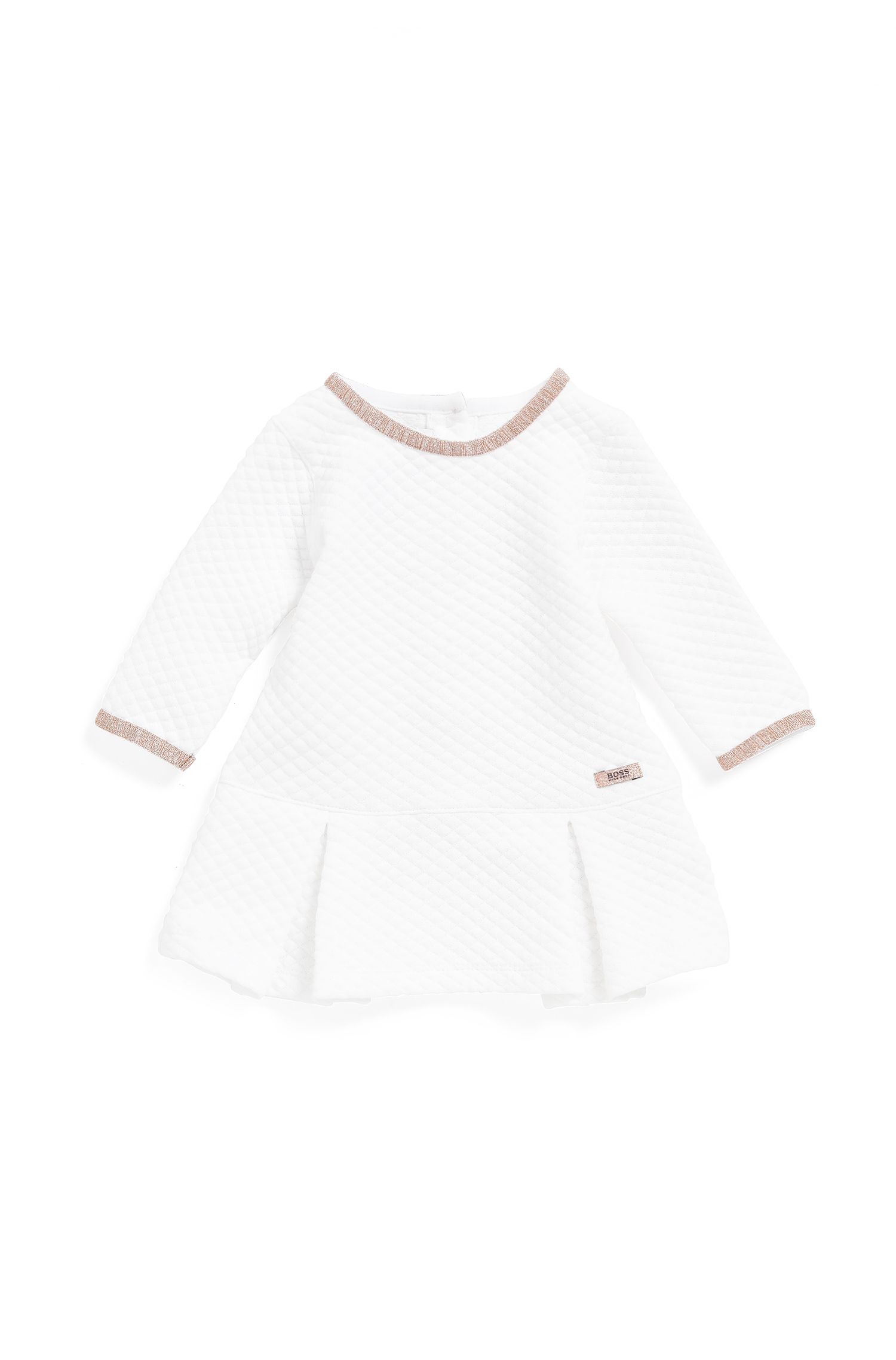 Baby dress in quilted cotton-blend jersey