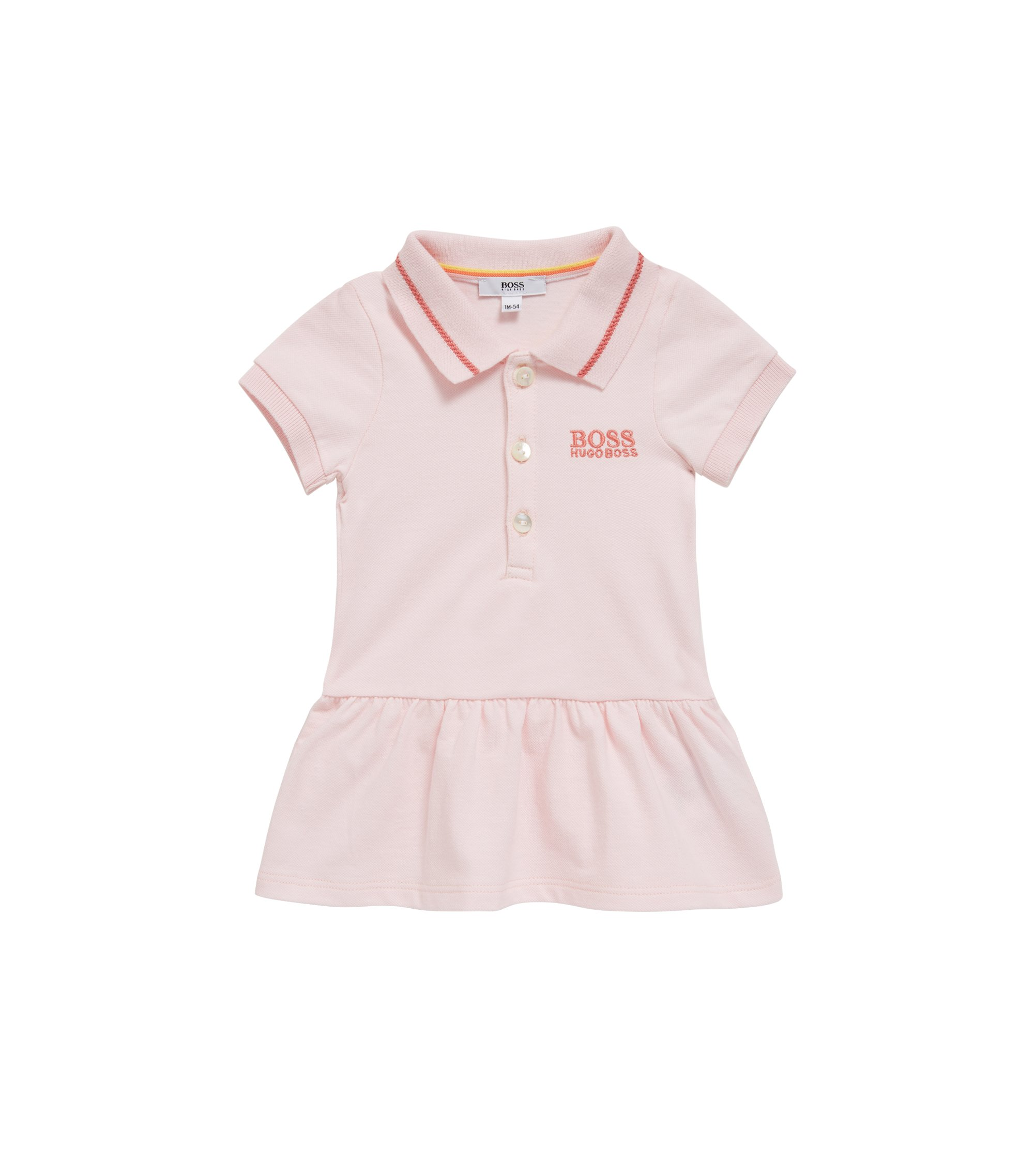 Baby tennis dress in stretch-cotton piqué, light pink