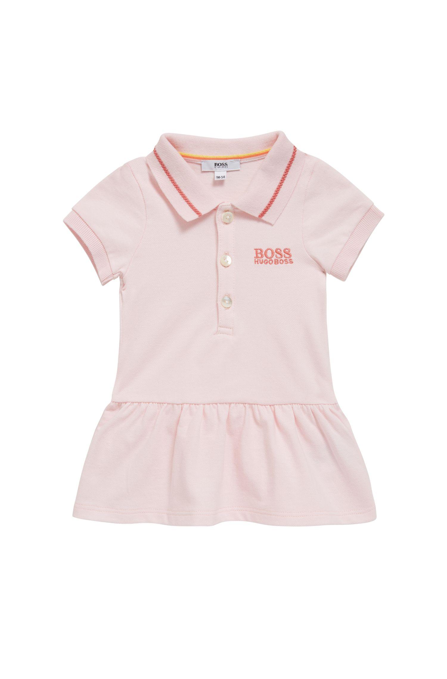 Vestitino per neonata stile tennis in piqué di cotone elasticizzato, Rosa chiaro