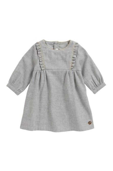 Baby dress with frilled trims and gold piping, Light Grey