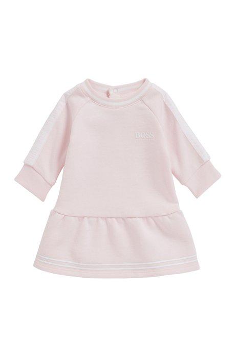 Vestido para bebé en vellón de mezcla de algodón con ribete a rayas, Rosa claro