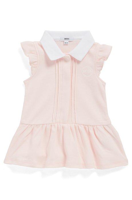 Vestito con collo a polo da neonato in cotone intrecciato con logo metallizzato, Rosa chiaro