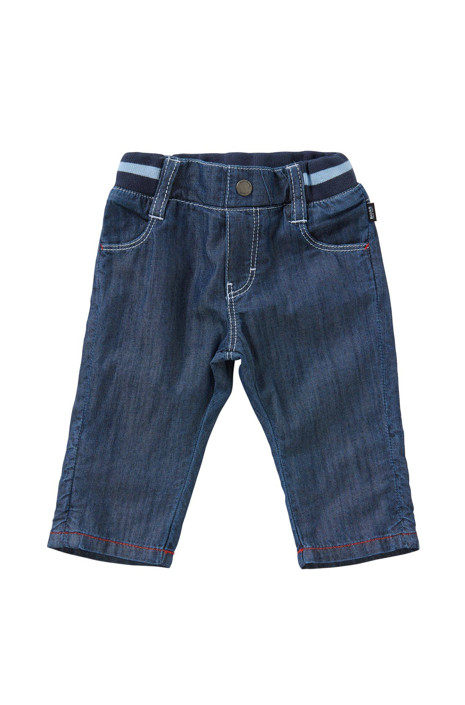 Newborn's cotton trousers in denim-look with an elastic waistband: 'J94153'