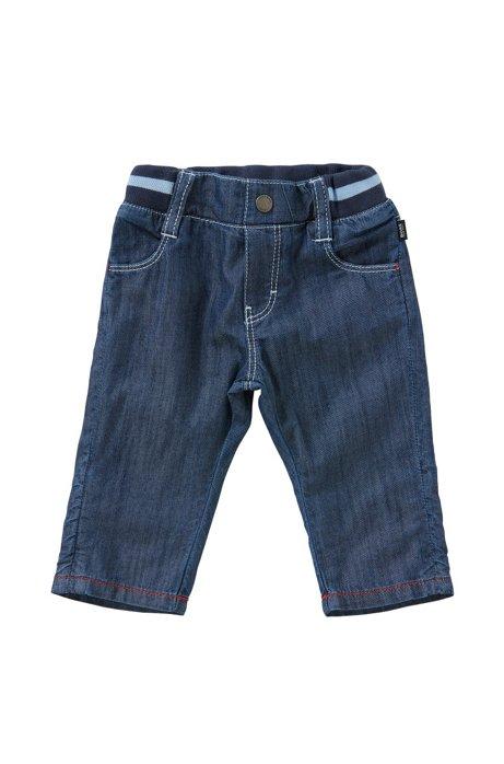 Pantalon pour bébé en coton avec taille élastique, finition denim: «J94153», Bleu