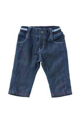 Newborn's cotton trousers in denim-look with an elastic waistband: 'J94153', Blue