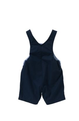 Newborn's dungaree shorts in cotton with snap buttons: 'J94156', Dark Blue