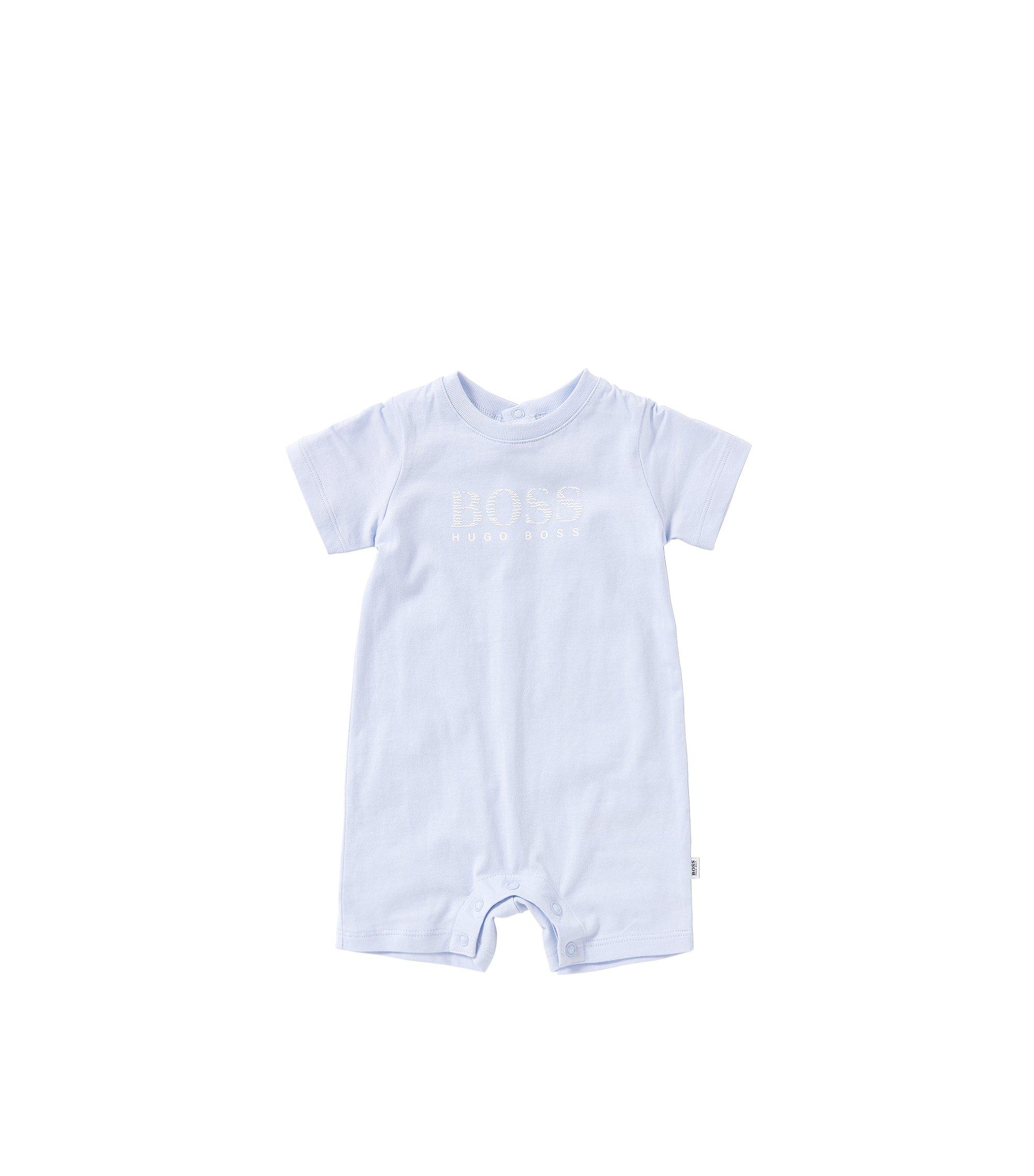 Short newborn's playsuit in cotton: 'J94157', Light Blue
