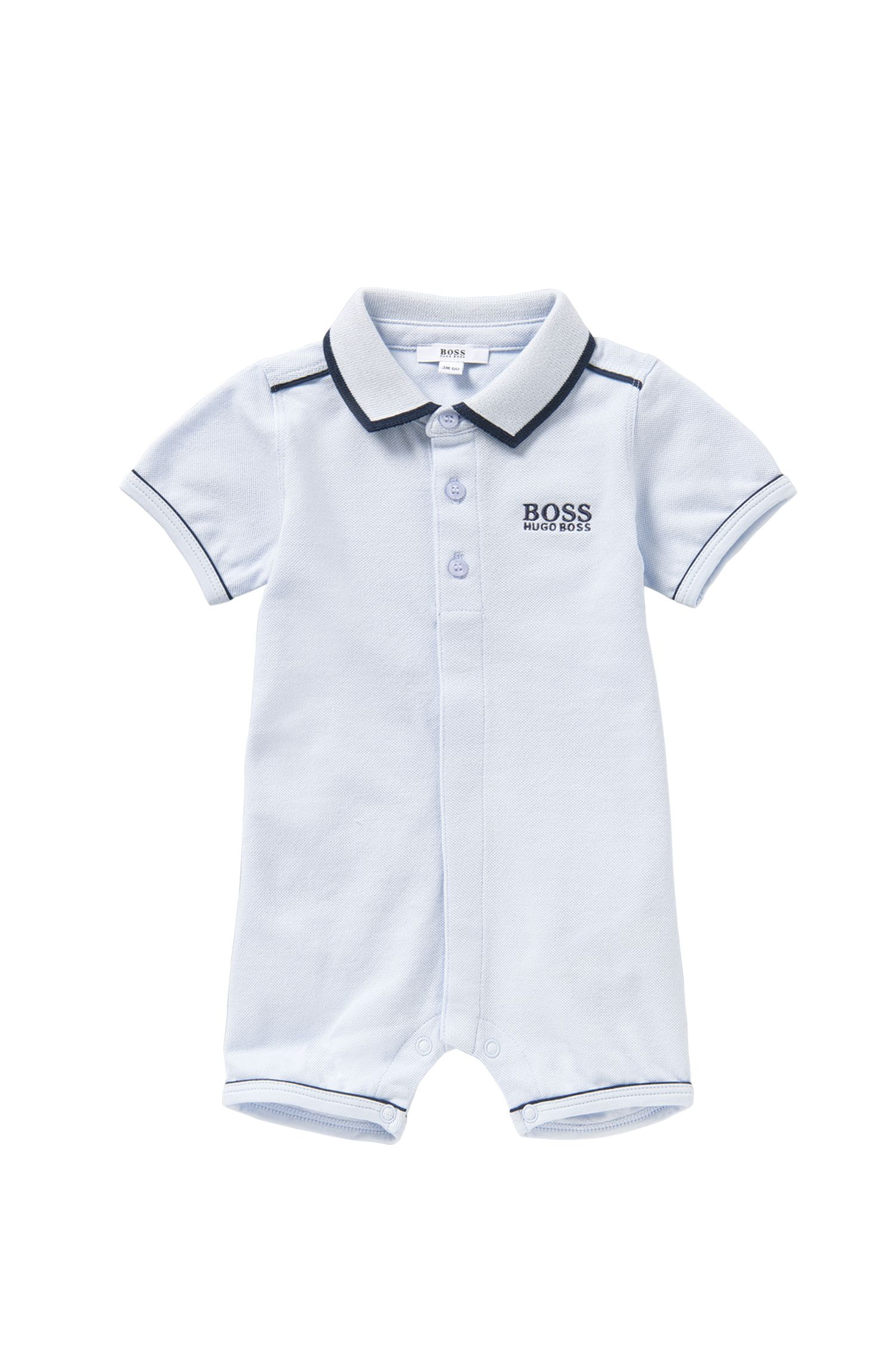 Newborns' playsuit in stretch cotton with a polo collar: 'J94158'