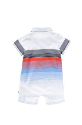 Multicoloured striped newborns' playsuit in cotton: 'J94159', Light Blue