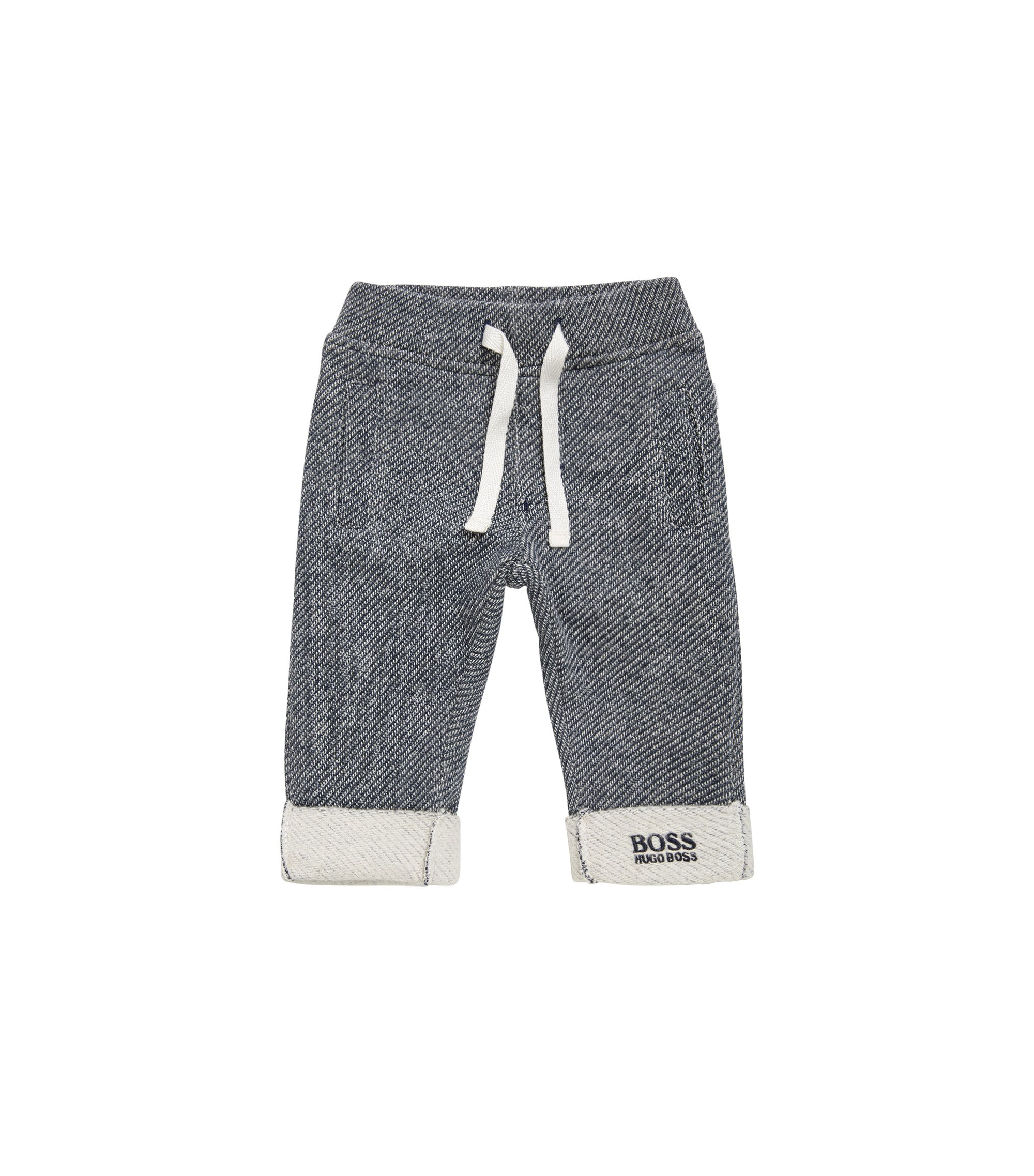 Patterned newborn tracksuit bottoms in cotton: 'J94167', Dark Blue