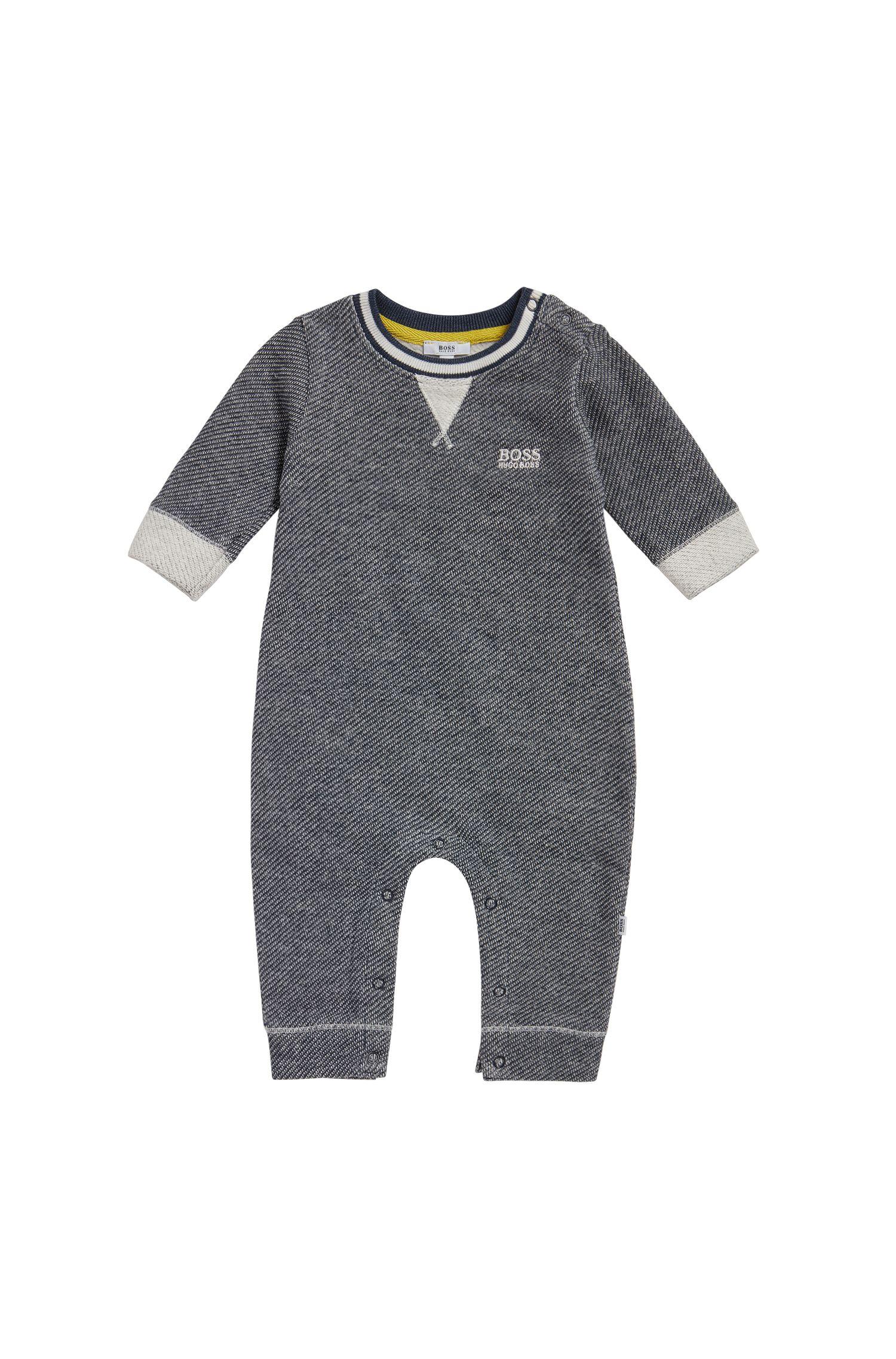 Grenouillère pour bébé en coton à la texture tissée: «J94170»