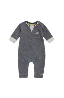 Babykruippakje van katoen met weefpatroon: 'J94170', Donkerblauw