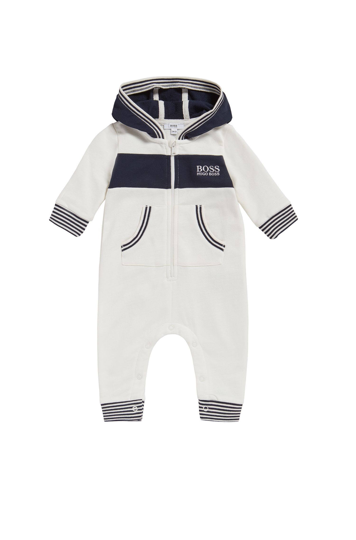 Hooded cotton overalls for newborns: 'J94171'
