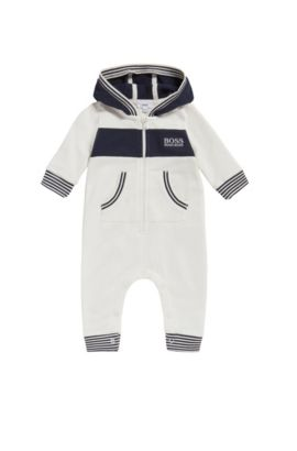 Hooded cotton overalls for newborns: 'J94171', Natural