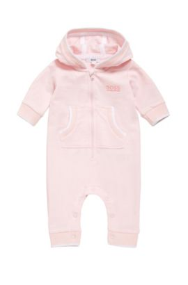Hooded cotton overalls for newborns: 'J94172', light pink