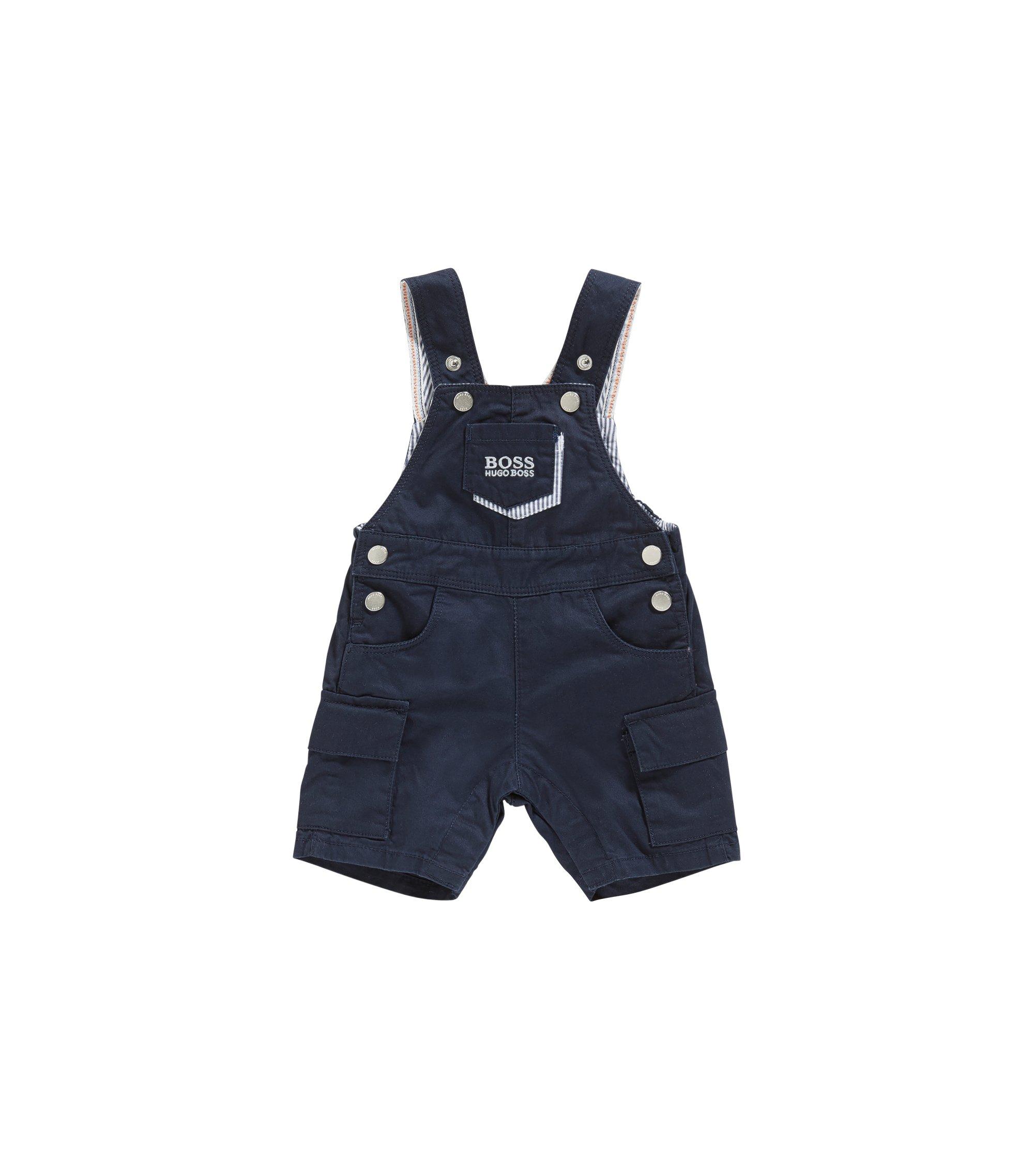 Baby-Latzshorts aus Baumwolle mit verstellbaren Trägern: 'J94177', Dunkelblau