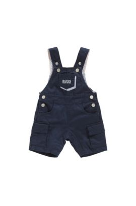 Newborns' dungaree shorts in cotton with adjustable braces: 'J94177', Dark Blue