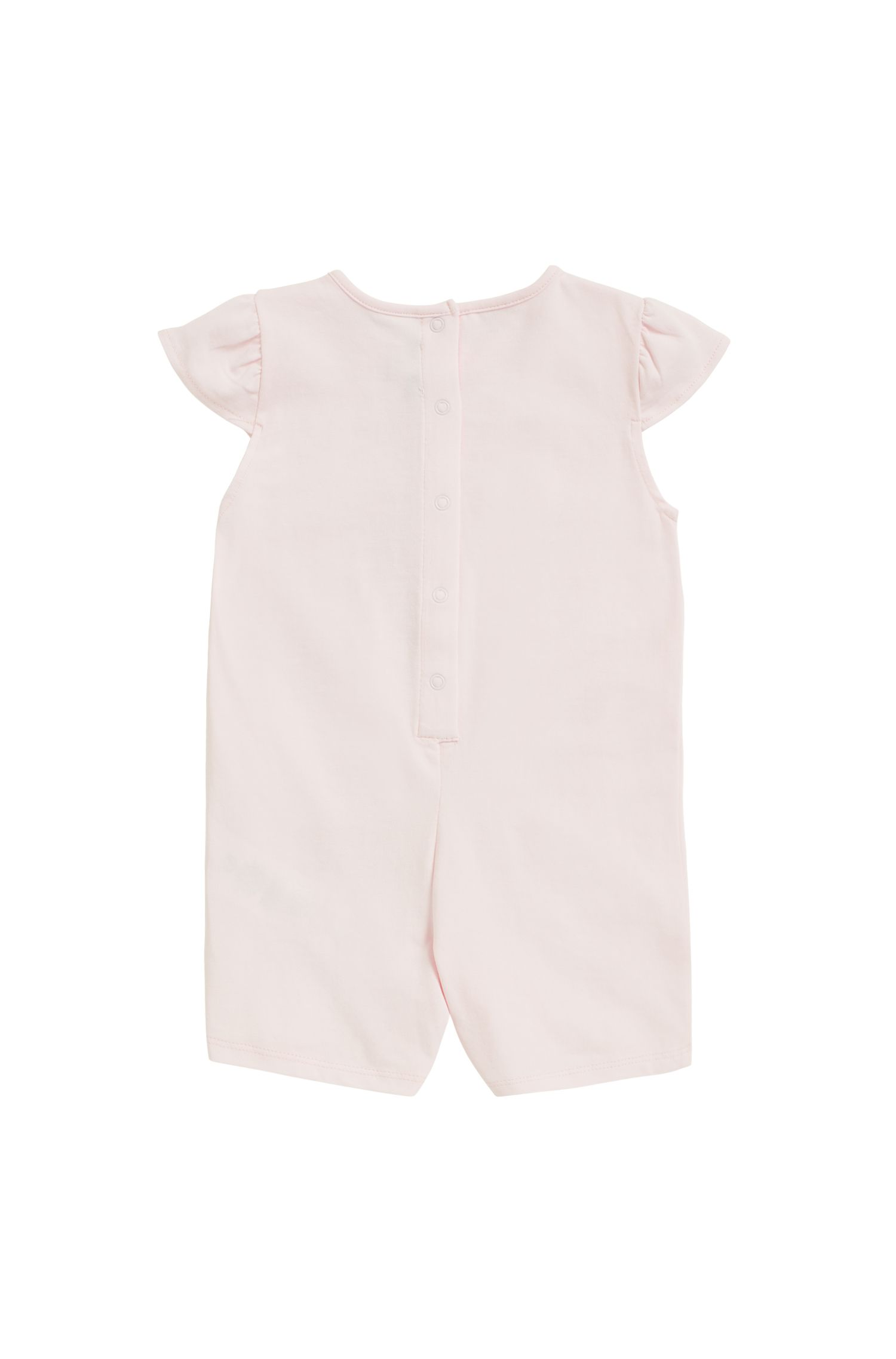Baby-Jumpsuit aus elastischer Baumwolle in Schimmer-Optik, Hellrosa