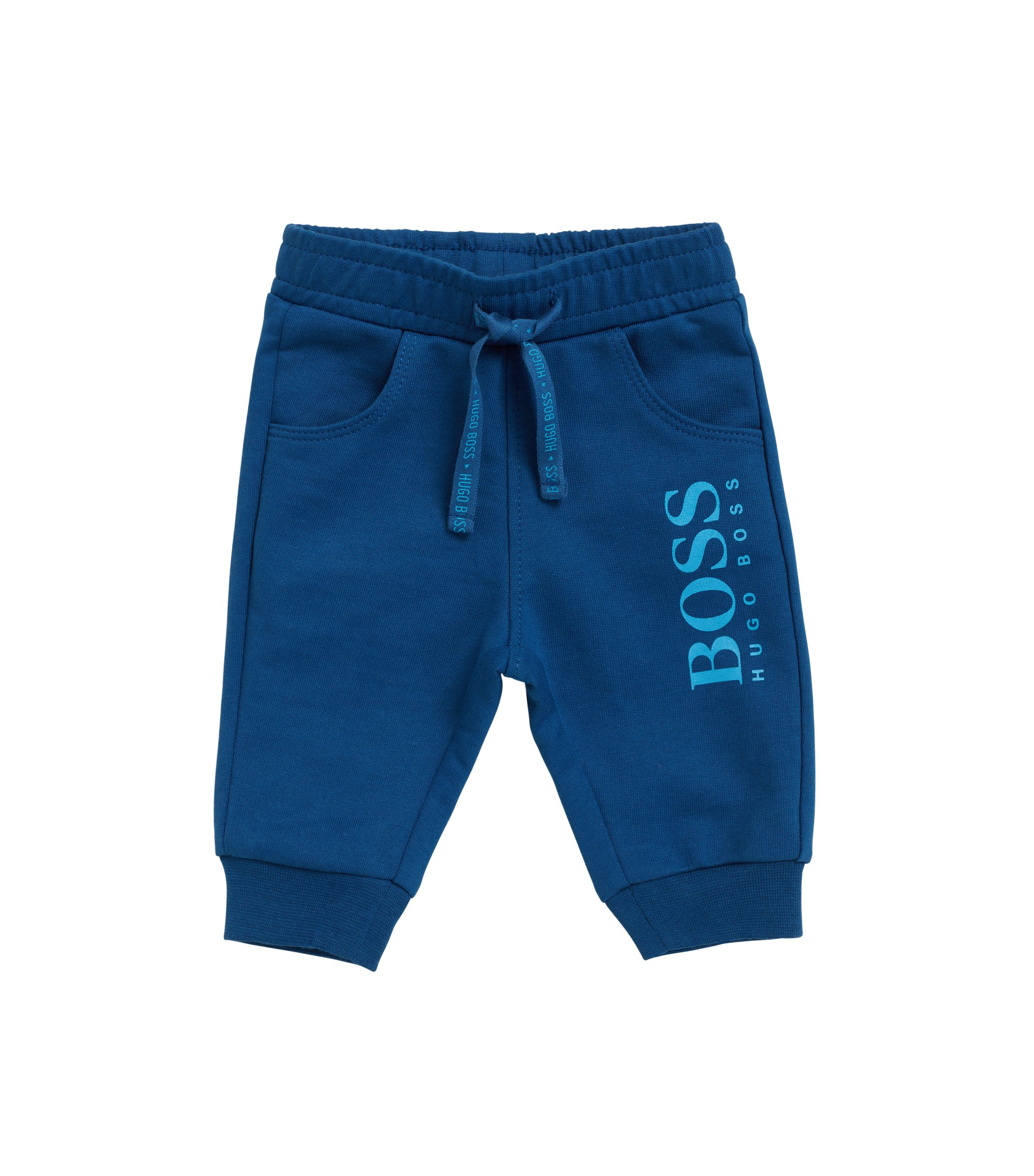 Baby jogging bottoms in cotton fleece, Dark Blue