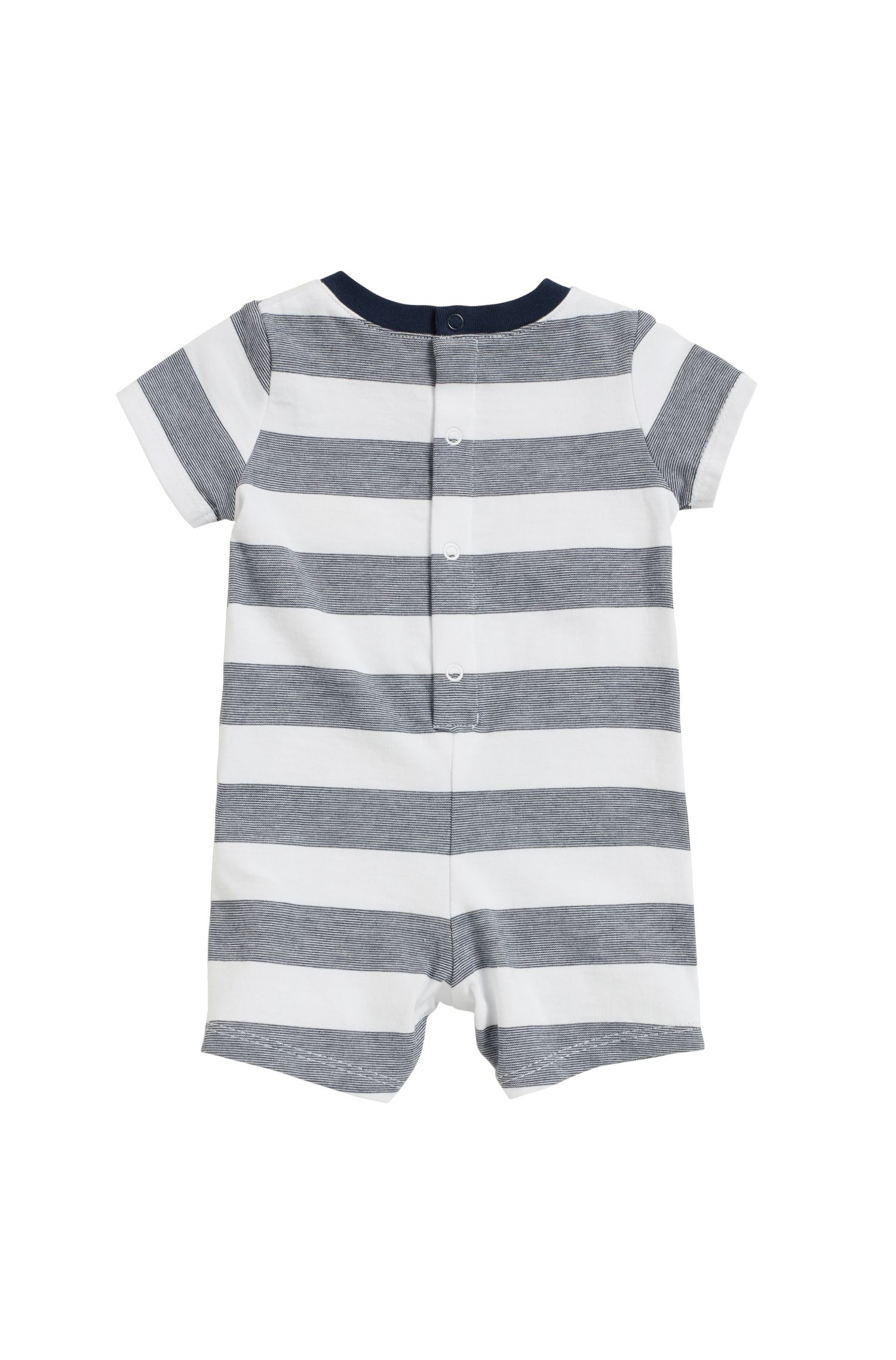 Combishort pour bébé en pur coton rayé