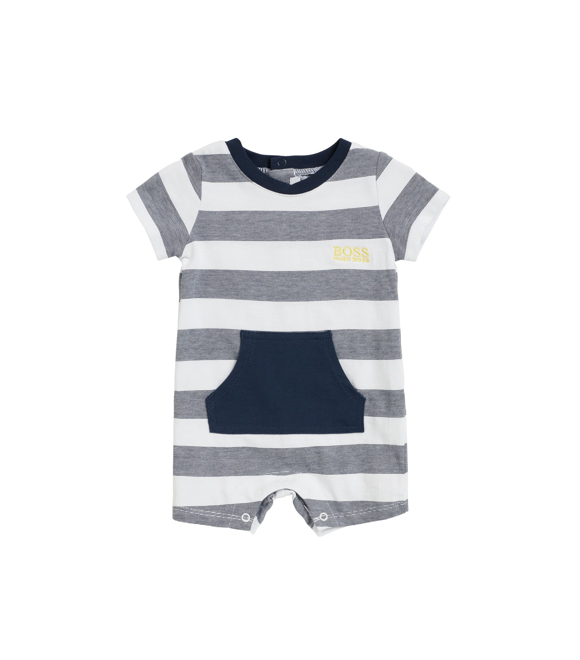Baby playsuit in pure cotton with stripes, Patterned