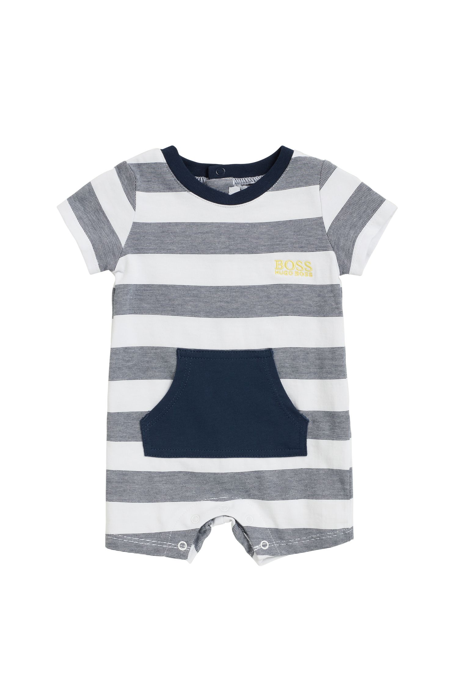 Baby playsuit in pure cotton with stripes