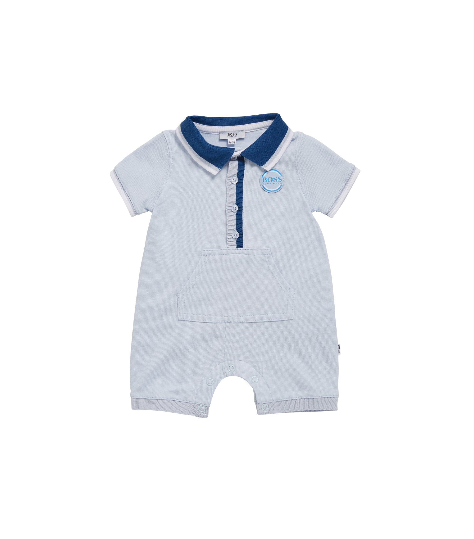Baby playsuit in stretch-cotton piqué, Light Blue