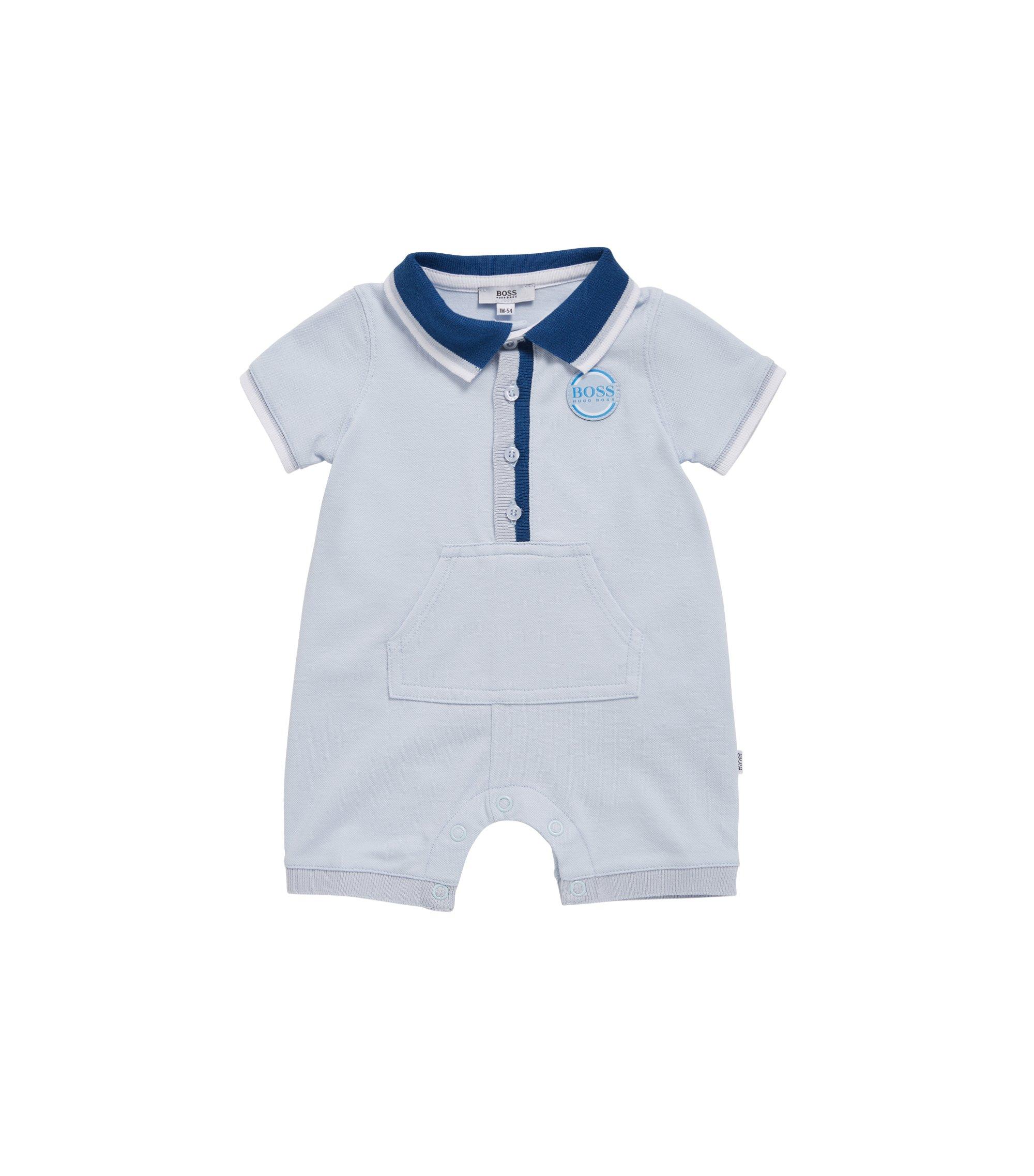 Combishort pour bébé en piqué de coton stretch, Bleu vif