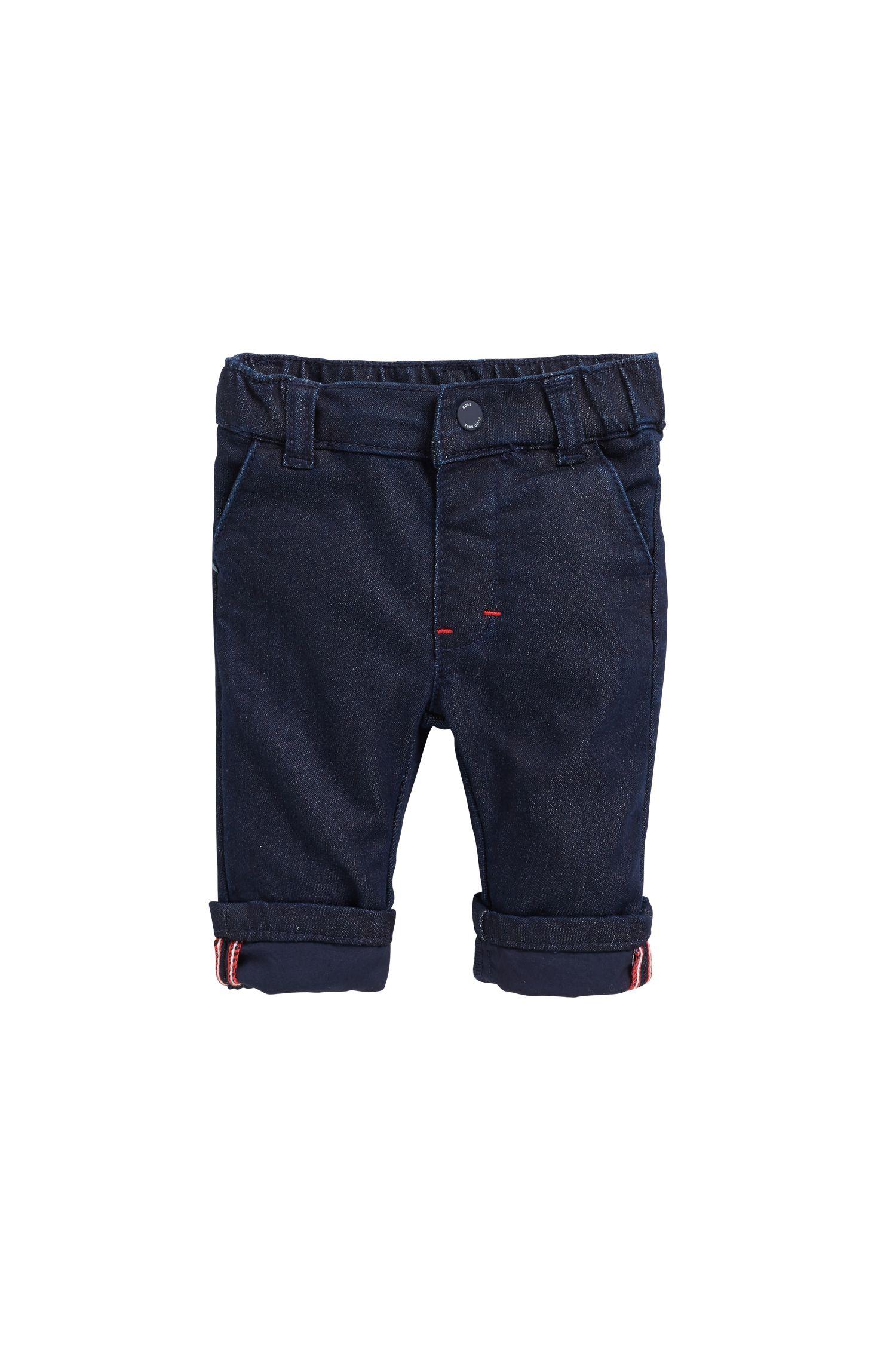 Jeans da neonato in denim elasticizzato blu scuro, Blu scuro