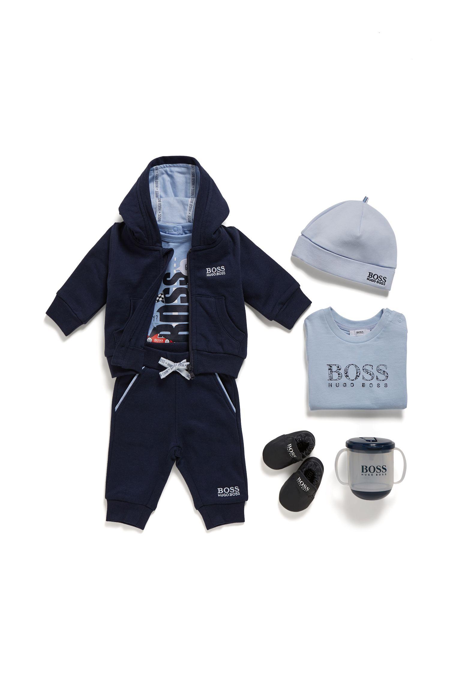 Babyjoggingbroek voor een jongen met tailleband met trekkoord, Donkerblauw
