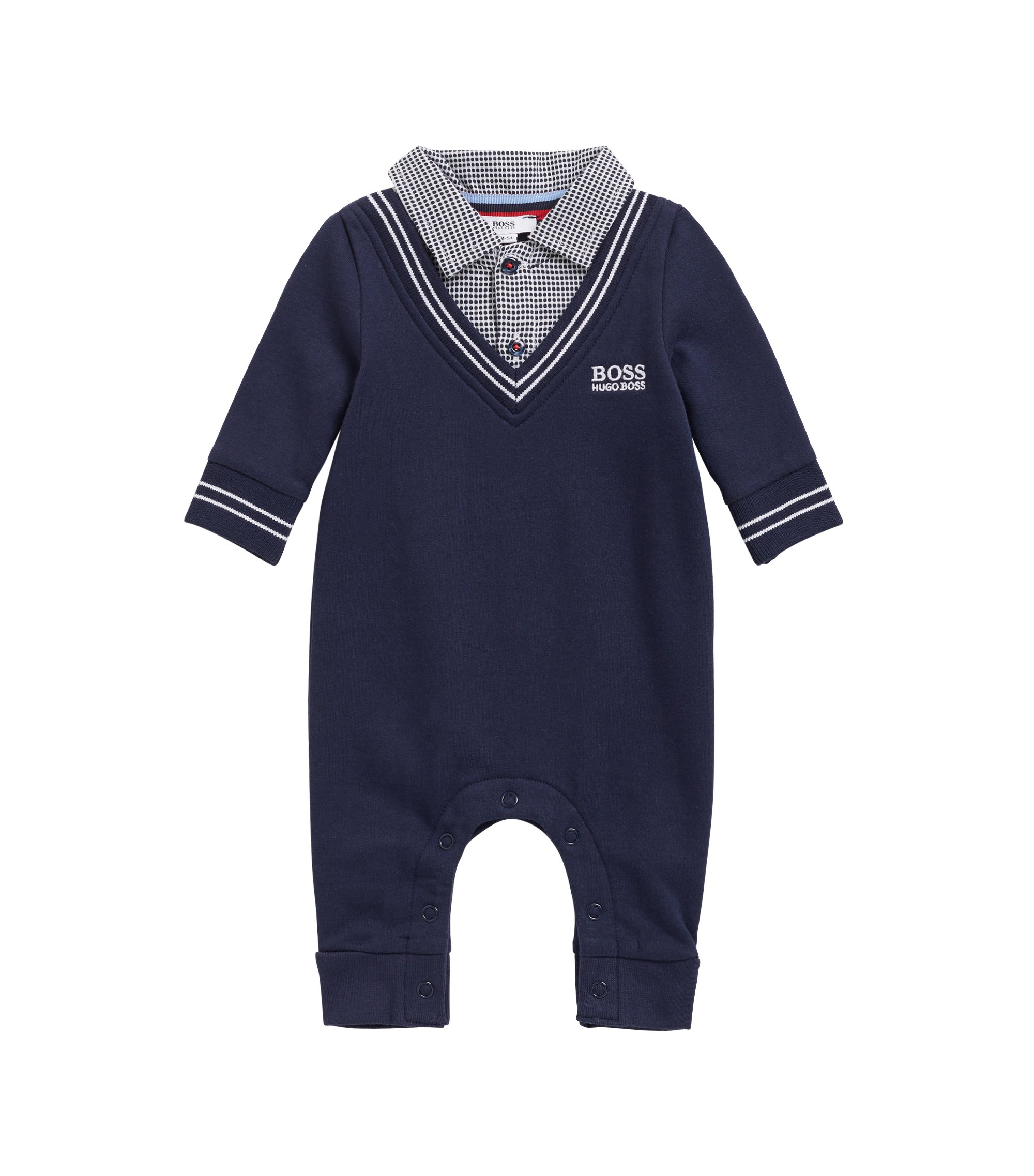 Baby boy romper suit with Vichy-check collar, Dark Blue