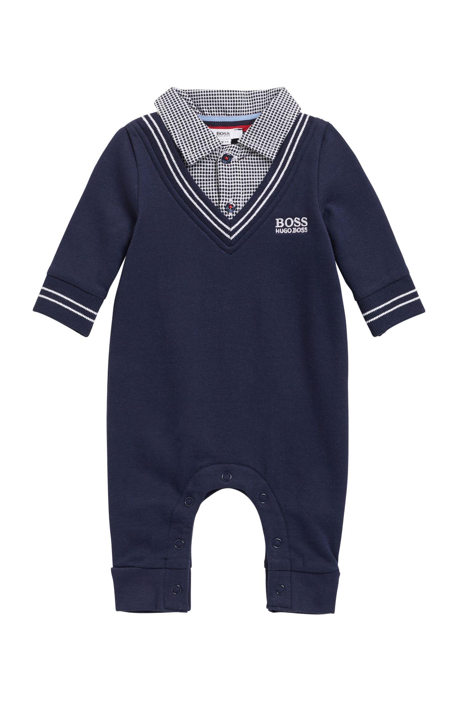Grenouillère pour bébé garçon à col vichy, Bleu foncé