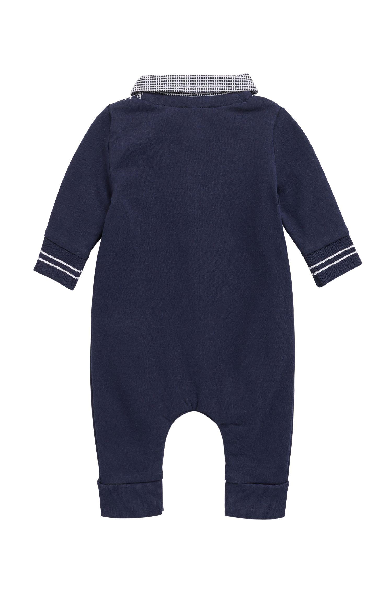 Baby-Spielanzug mit Vichy-Karo am Kragen, Dunkelblau