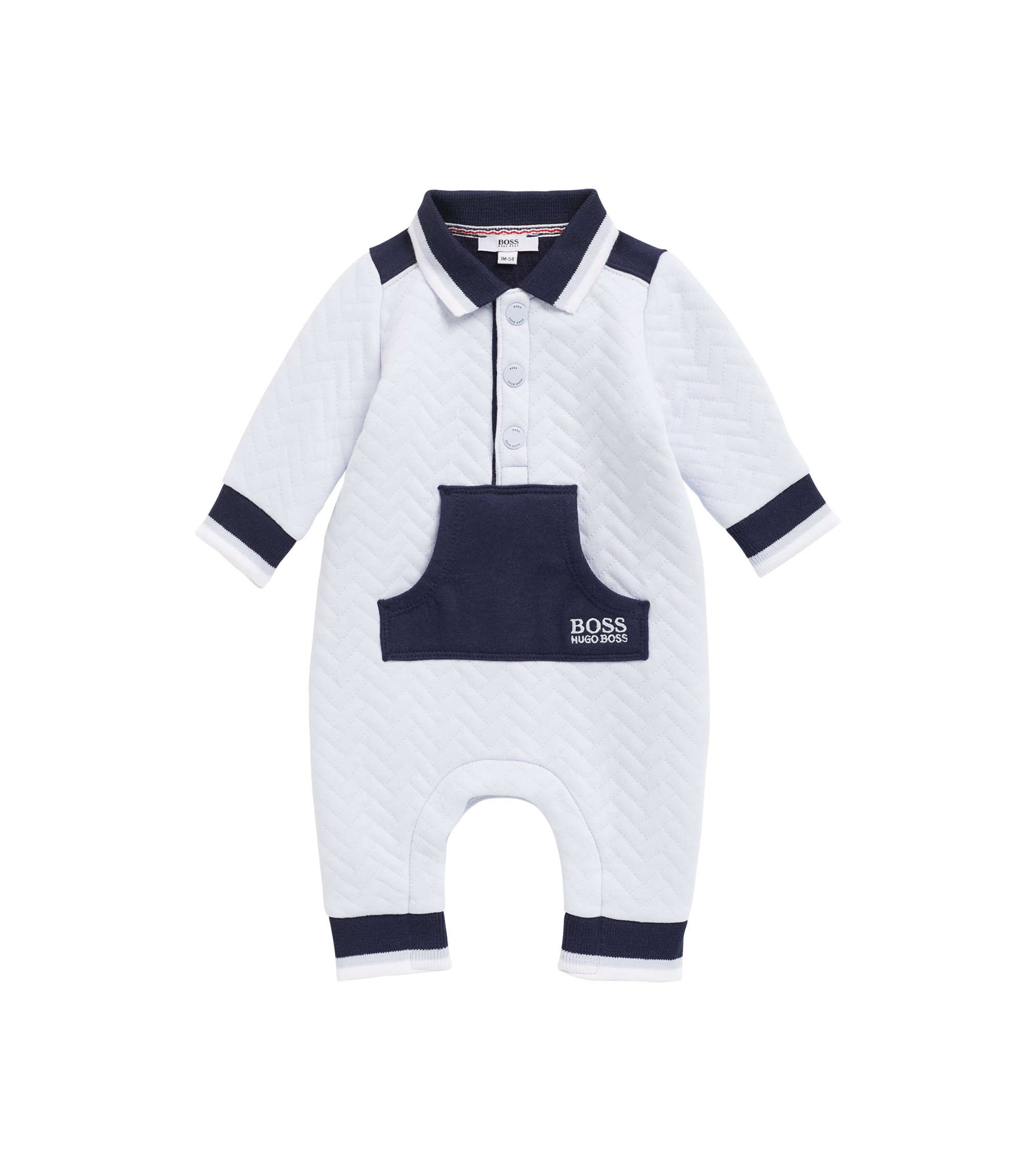 Baby boy romper suit in cotton-blend jersey, Light Blue
