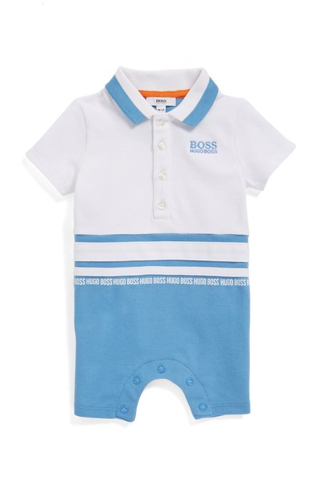 Baby short playsuit with stripe detailing, Patterned