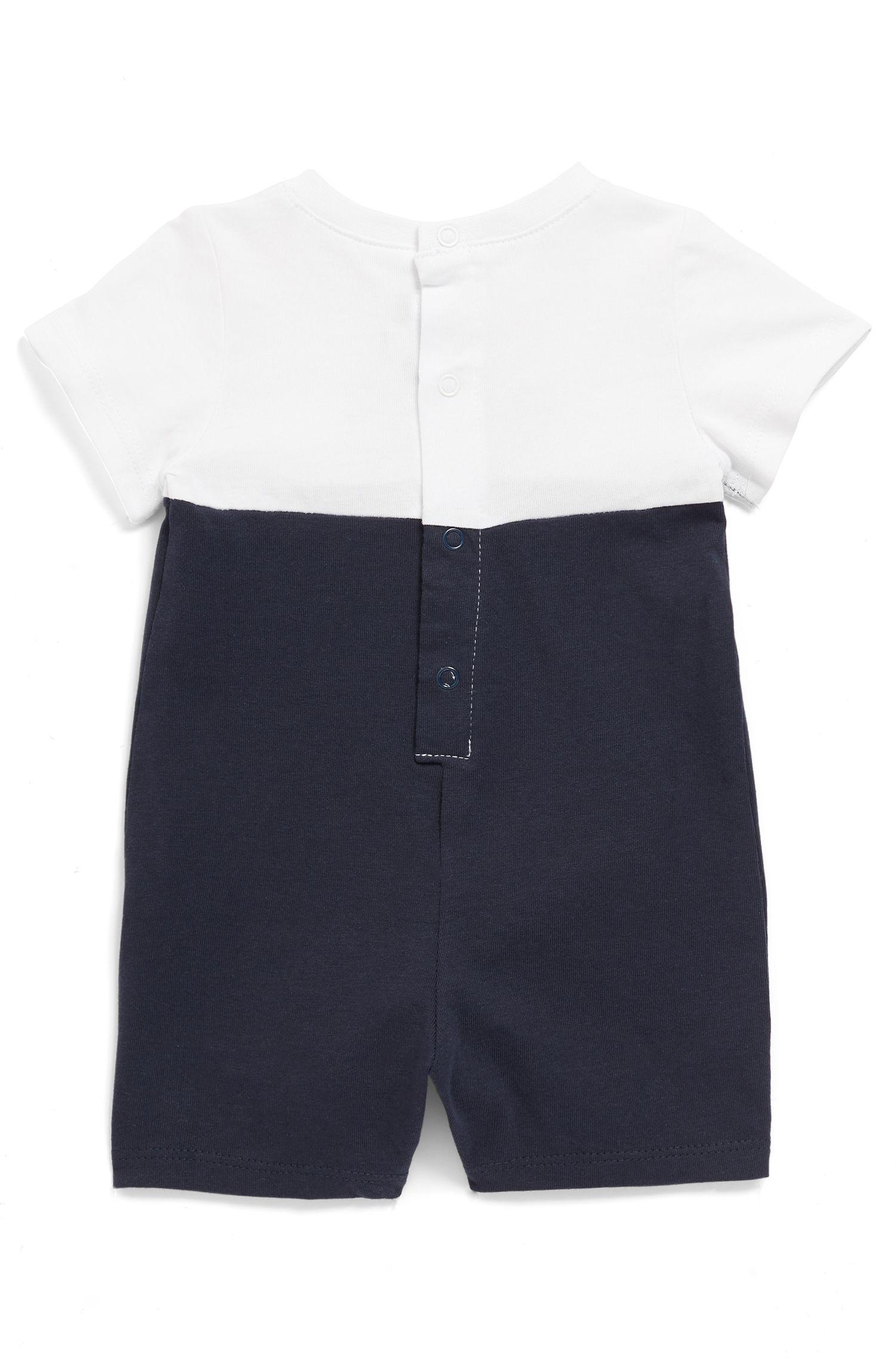 Baby short-sleeved bodysuit with chest logo, Dark Blue
