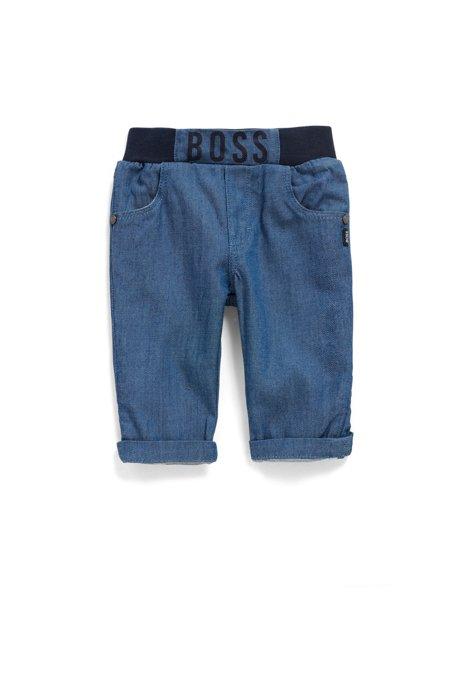 Baby-Jeans mit elastischem Logo-Bund für Jungen, Blau