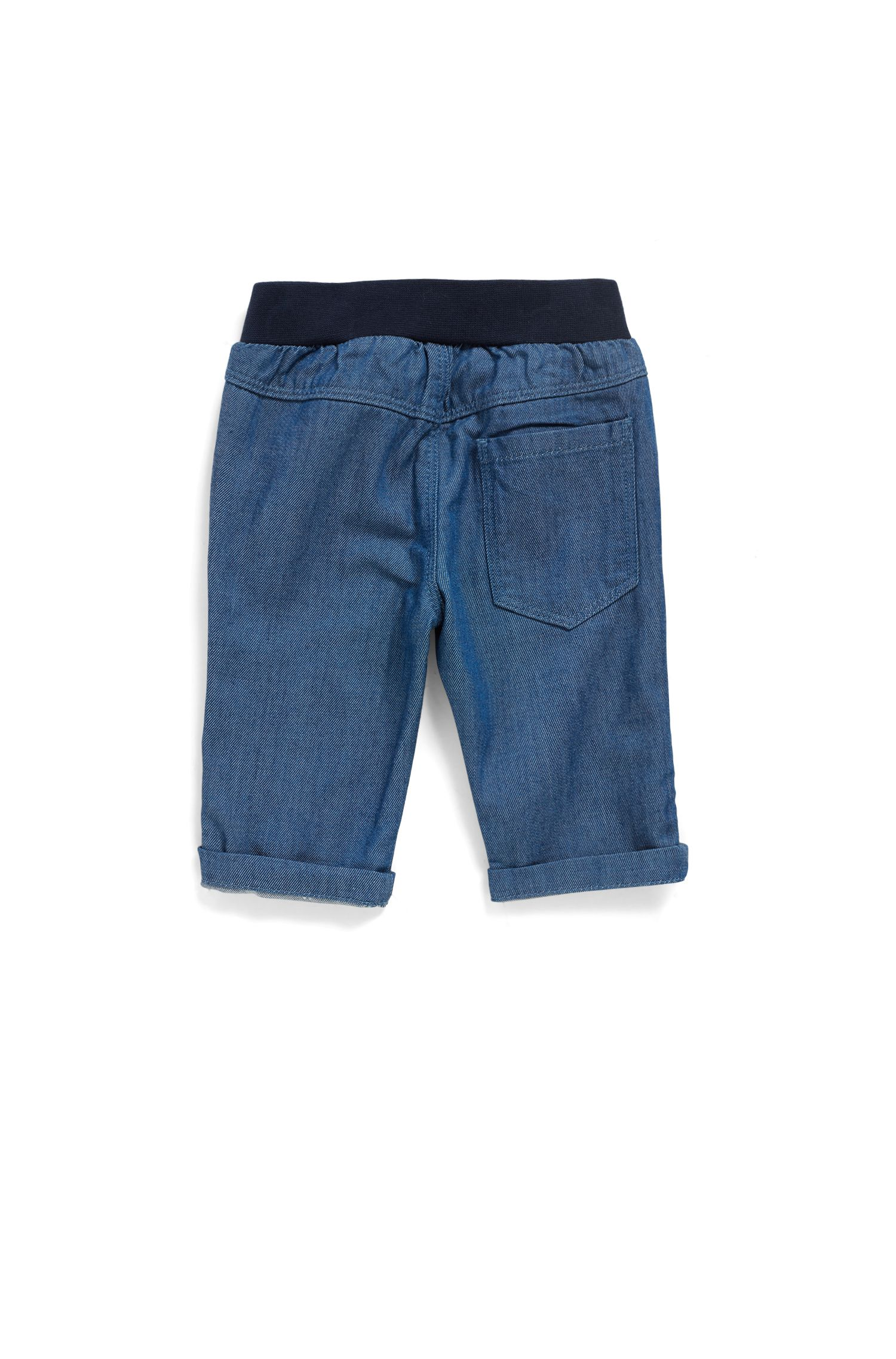 Baby boy jeans with elasticated logo waistband, Blue