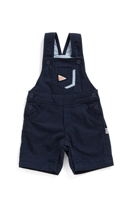 Baby dungarees in stretch-cotton with logo trims, Dark Blue