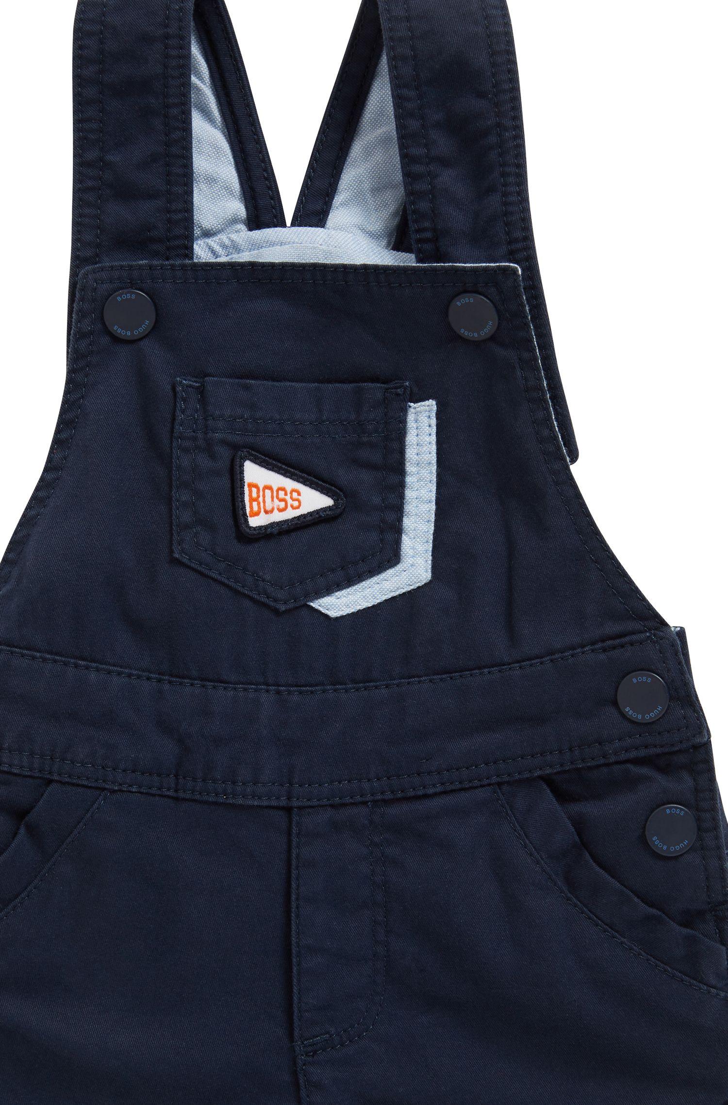Salopette pour bébé en coton stretch, avec finitions logo, Bleu foncé