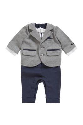 Costume trois pièces pour bébé avec logo brodé, Bleu foncé