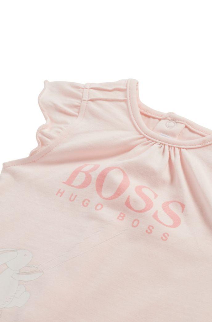 Combishort pour bébé en coton stretch avec illustration logo imprimée